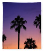Colorful Tropical Palm Tree Sunset Fleece Blanket