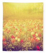Colorful Tulip Flowers In The Garden On Sunny Day In Spring Fleece Blanket