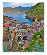 Colorful Vernazza From Behind Fleece Blanket