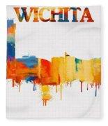 Colorful Wichita Skyline Silhouette Fleece Blanket