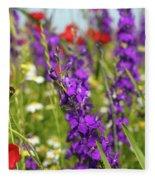 Colorful Wild Flowers Spring Scene Fleece Blanket