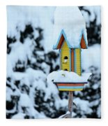 Colorful Wooden Birdhouse In The Snow Fleece Blanket