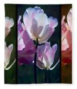Coloured Tulips Fleece Blanket