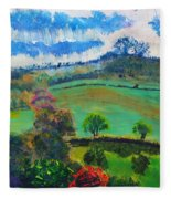 Colourful English Devon Landscape - Early Evening In The Valley Fleece Blanket