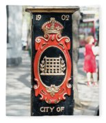 Colourful Lamp Post With The City Of Westminster Coat Of Arms London Fleece Blanket