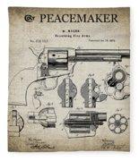 Colt .45 Peacemaker Revolver Patent  1875 Fleece Blanket