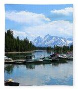 Colter Bay On Jackson Lake  Fleece Blanket