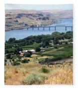 Columbia River And Biggs Bridge Fleece Blanket