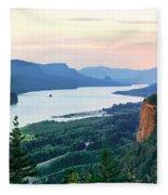 Columbia River With Vista House Fleece Blanket