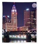 Columbus By Moonlight Fleece Blanket