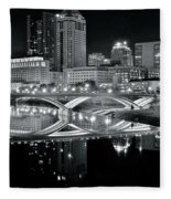 Columbus Ohio Black And White Fleece Blanket