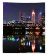 Columbus Ohio Reflecting In The Scioto River Fleece Blanket