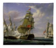 Combat Between The French Frigate La Canonniere And The English Vessel The Tremendous Fleece Blanket