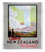 Come To New Zealand Vintage Travel Poster Fleece Blanket