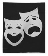 Comedy N Tragedy Black White Fleece Blanket