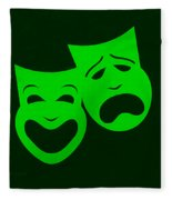 Comedy N Tragedy Green Fleece Blanket