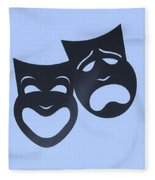 Comedy N Tragedy Neg Cyan Fleece Blanket