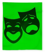 Comedy N Tragedy Neg Green Fleece Blanket