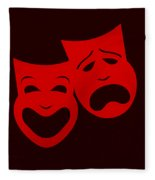 Comedy N Tragedy Red Fleece Blanket