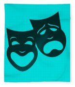 Comedy N Tragedy Turquoise Fleece Blanket