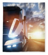 Commercial Cargo Delivery Truck With Trailer Driving On Highway At Sunset. Fleece Blanket