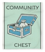 Community Chest Vintage Monopoly Board Game Theme Card Fleece Blanket