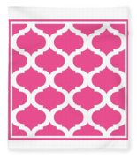 Compact Marrakesh With Border In French Pink Fleece Blanket