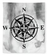 Compass-black Fleece Blanket