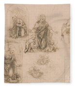 Compositional Sketches For The Virgin Adoring The Christ Child Fleece Blanket