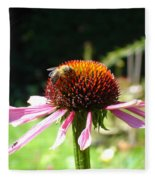 Cone Flower And Honey Bee Fleece Blanket