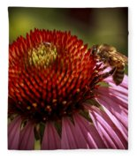 Coneflower Bee Fleece Blanket