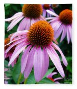 Three Coneflowers  Fleece Blanket