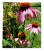 Coneflowers In Garden Fleece Blanket