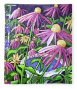 Coneflowers In Gentle Wind Fleece Blanket
