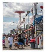 Coney Island Boardwalk II Fleece Blanket
