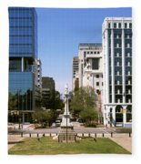Confederate Monument With Buildings Fleece Blanket