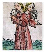 Conjoined Twins, Nuremberg Chronicle Fleece Blanket
