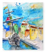 Conquistador Boat In Portugal Fleece Blanket