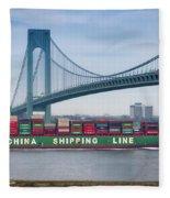 Container Ship Passing The Verrazano Bridge Fleece Blanket