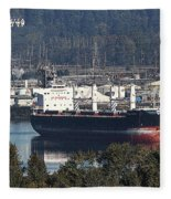 Container Ship Ready To Load More Lumber Fleece Blanket