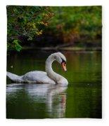 Contemplating Swan Fleece Blanket