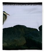 Contemplating Heron Fleece Blanket