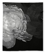 Contrasts In Floral Kingdom In Black And White. Fleece Blanket