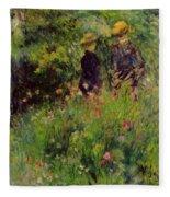 Conversation In A Rose Garden 1876 Fleece Blanket