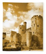 Conwy Castle And The Telford Suspension Bridge North Wales Fleece Blanket