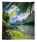 Cooks Bay With Sailboat Fleece Blanket