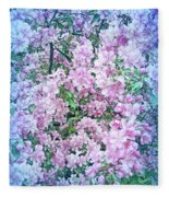 Cool Blue Apple Blossoms Fleece Blanket