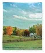Cool Blue Autumn Farm Fleece Blanket