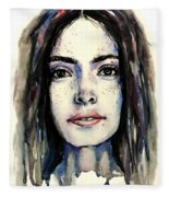 Cool Colored Watercolor Face Fleece Blanket
