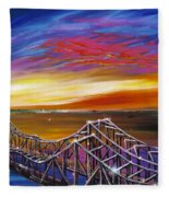 Cooper River Bridge Fleece Blanket